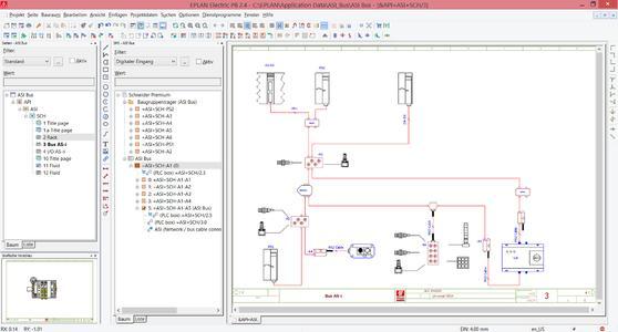 Auf Basis einer einfachen, einpoligen Darstellung mit Busanschlüssen ermittelt Eplan Electric P8 automatisch die Buskonfiguration (Quelle: Eplan Software & Service GmbH & Co. KG)