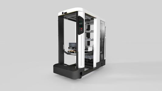 Der Roboter SOTO 2 bringt Kleinladungsträger vom Lager zur Fertigungslinie und ersetzt damit einen manuellen Prozess, der bisher zu komplex für Automatisierung war.