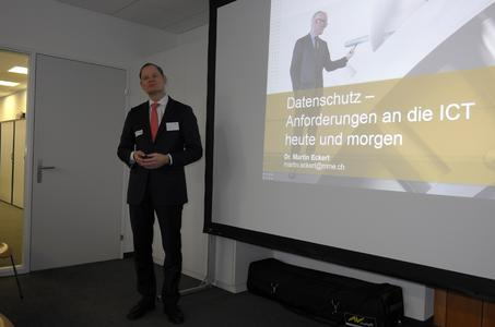 Dr. Martin Eckert von InfoGuard-Partnerunternehmen MME weist auf Datenschutzbestimmungen hin.