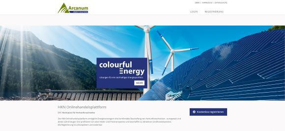 Ansicht der Startseite der HKN-Handelsplattform von Arcanum Energy Solutions GmbH