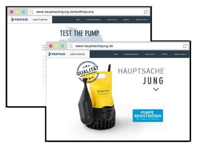 """Mit einem Klick auf """"Test the Pump"""" auf der Webseite hauptsachejung.de, kann der Endkunde eine Pumpe anfordern und diese kostenlos testen / Foto: Pentair Jung Pumpen, Steinhagen"""