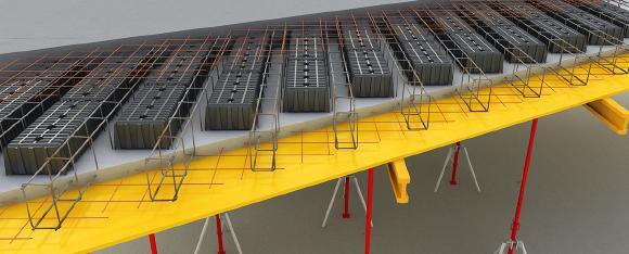 Die Schalung AIRPLAST eignet sich in einer vollkommenen Weise für die Verbindung der Fertigbauplatten. Die Elemente werden in dem Fabrikgebäude auf den frischen Beton positioniert und die Betonplatten werden zur Baustelle transportiert, wo sie eingebaut werden. Im Gegensatz zu dem Polystyrol, gibt AIRPLAST beträchtliche Vorteile, von einem Arbeits- und logistischen Gesichtspunkt aus betrachtet.