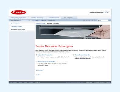 Mit wenigen Klicks geben die interessierten Leser des Fronius-Newsletter ihre Nutzerdaten ein