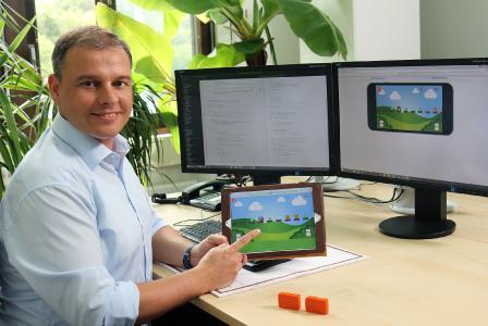 Das Team um Daniel Steffen hat das Computerspiel entwickelt, Foto: Koziel/TUK