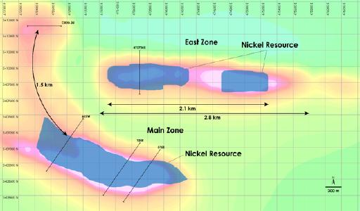 Figure 1 – Plan view of Main Zone & East Zone Nickel Resources, Crawford Nickel-Cobalt Sulphide Project, Ontario