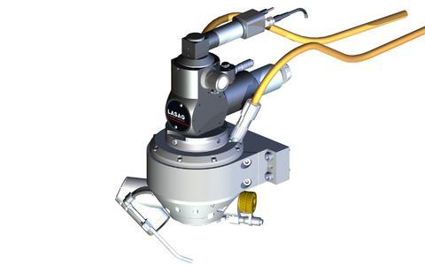 Die Lichtleiter Drehoptik (LLDROP) ermöglicht eine rotierende Laserbearbeitung z.B. auch von kleinen Werkstücken direkt in einem Tray
