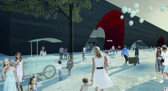 Visualisierung des Entwurfs der Marte.Marte Architekten: Rote Bögen als weithin sichtbarer Eingang (Bildnachweis: Marte.Marte Architekten ZT GmbH)