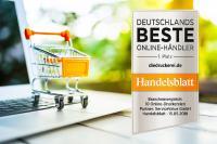 """Zum dritten Mal in Folge erhielt diedruckerei.de die Auszeichnung """"Bester Online-Händler"""" in der Kategorie Druckereien. Die Studie wurde vom Handelsblatt in Auftrag gegeben"""