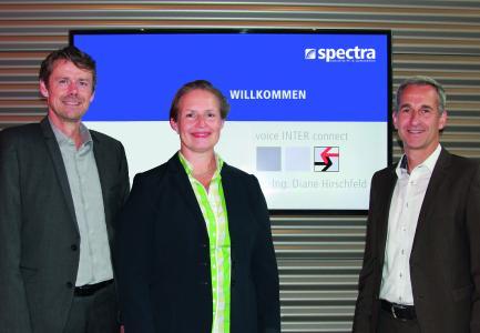 Geschäftsführer: Jürgen Rauscher (Spectra), Diane Hirschfeld (voice INTER connect) und Klaus Rottmayr (Spectra) (von links)