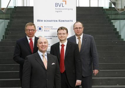 Dr. Stefan Kooths, Konjunkturexperte (DIW Berlin), Dieter Bock, Mitglied des Beirats der BVL, Initiator des Projekts, Prof. Dr.-Ing. Raimund Klinkner, Vorsitzender des Vorstands der BVL, Dr.-Ing. Thomas Wimmer, Vorsitzender der Geschäftsführung BVL