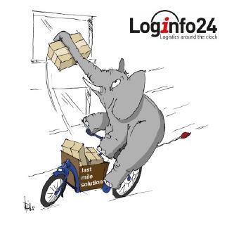 Der Logifant von Loginfo24 mit der ultimativen Lösung zur Lösung der letzten Meile in der Logistik.