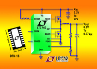 2.2V Input High Power Step-Down DC/DC Controller Uses Standard 5V N-Channel MOSFETs