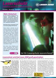 Laserschutz ist essentiell im Umgang mit intensiven Strahlquellen. Alle Infos und Produkte auf 24 Seiten im neuen Katalog.