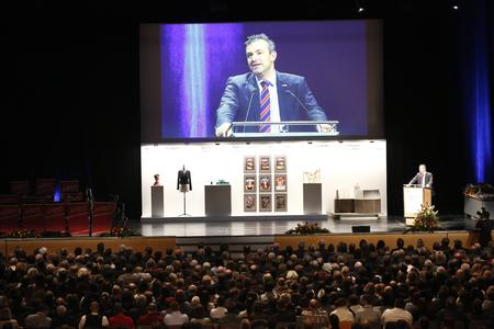 Handwerkskammerpräsident Georg Schlagbauer begrüßte die Gäste bei Deutschlands größter Meisterfeier im Handwerk / Foto: Schuhmann