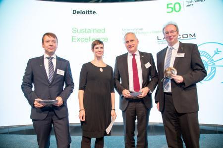 Deloitte Fast 50  2017 München - Sustained Excellence Award Lancom Systems GmbH - v.l.r. C.Frank, M.Schroder, Stefan Herrlich (GF), Ralf Koenzen (GF)