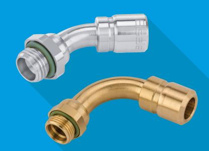 Eisele hat die LIQUIDLINE mit Ganzmetallanschlüssen für Kühlwasseranwendungen um Bogen-Einschraubanschlüsse für besonders hohe Durchflussleistungen erweitert