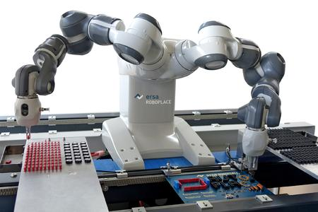 Innovative automation solution: The Ersa ROBOPLACE performs repetitive insertion  tasks in front of the selective soldering system. Based on a flexible 2-arm technology,  this collaborative robot – shown for the first time in Munich – does not require a  safety enclosure and frees up employees to perform other, more demanding, tasks