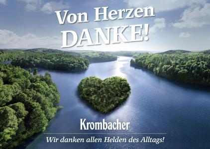 "Das Krombacher ""Danke""-Plakatmotiv"