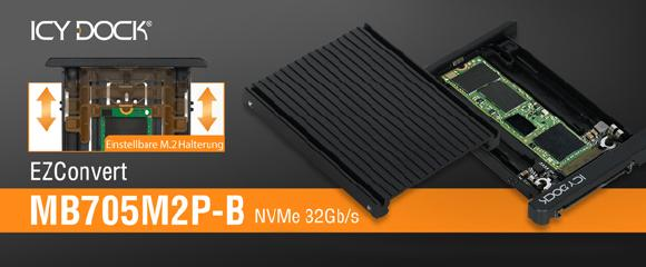 "ICY DOCK EZConvert MB705M2P-B M.2 PCIe NVMe SSD zu 2,5"" U.2 PCIe SSD Konverter Adapter"
