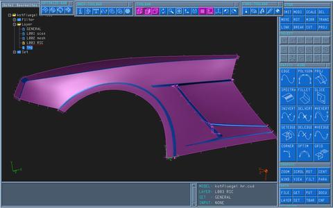 Die manuell geformte Seitenwand wird gescannt und mit RSC- und Optimizer-Funktionen zu einem krümmungsstetigen Flächenmodell aufbereitet