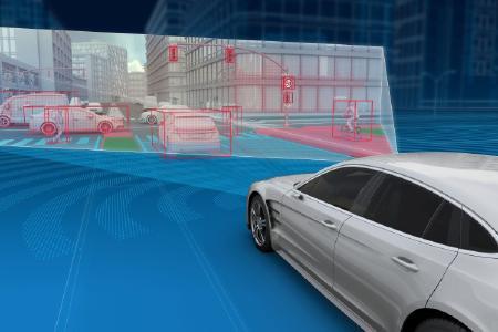 Mit 192 Kanälen bietet das 4D-Full-Range-Radar von ZF eine 16-mal höhere Auflösung als ein branchenübliches Fahrzeugradar und kann, wie gezeigt, mit der gesamten Palette der Kamera- und LiDAR-Technologien von ZF kombiniert werden, um eine hochgenaue Wahrnehmung der Umgebung zu ermöglichen