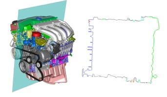 Farberhaltende Datenreduzierung (Entkernen) eines Motors (77% Reduzierung) mit Teraport-Modul DMU.SurfaceFilter