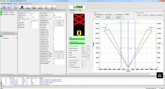 LaseSPC software menu - status display at target position