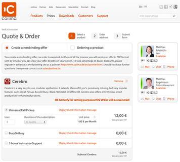 Online Bestellprozess colima