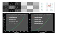 Zwei-Shot-Gamma Messung. Oben: Ein Gamma-Testbild enthält neun verschiedene Graustufen, sodass 18 Graulevel mit nur zwei Bildaufnahmen bestimmt werden können. Ein Weißbild dient zur Korrektur von räumlich bedingter Leuchtdichteinhomogenität. Unten: Elektro-optische Kennlinien. Nach der Weißbildkorrektur (rechts) liegt die elektro-optische Transferfunktion des DUT innerhalb des Toleranzbandes (blau gestrichelte Linien) wie von den OEMs gefordert