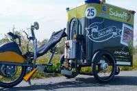 Die von ACE für E-Lastenfahrräder gelieferten hydraulischen Bremszylinder sind in Druck- bzw. Zugkraft von 30 N bis zu 3.000 N variabel justierbar und beruhigen das Fahrwerk, dienen der Sicherheit und steigern den Komfort bei dieser Liegefahrrad-Konstruktion / Bildnachweis: ACE Stoßdämpfer GmbH