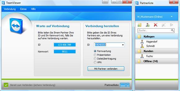 Screenshot TeamViewer Partnerliste