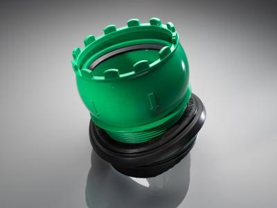 Die Einschraubkrone des AWADOCK erlaubt durch ein Kugelgelenk Abwinklungen von bis zu 7,5°, während Scherlasten gleichzeitig auf ein Minimum reduziert werden können. Foto: REHAU
