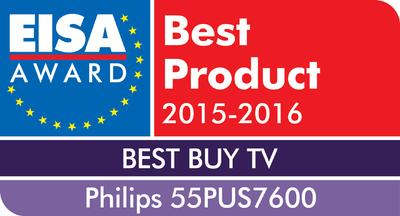 PHILIPS 55PUS7600 erhält den EISA Award für den EUROPEAN BEST BUY TV 2015‐2016