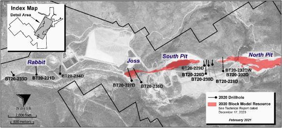 Abbildung 1: Beartrack - Lageplan der Bohrlöcher im Jahr 2020