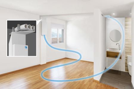 Der variable Schnellbaurahmen erleichtert den Einbau der Wohnraumlüftung freeAir im Bestand. Eine detaillierte Anleitung ist unter bluMartin.de/Schnellbaurahmen verfügbar, Bildquelle: bluMartin GmbH