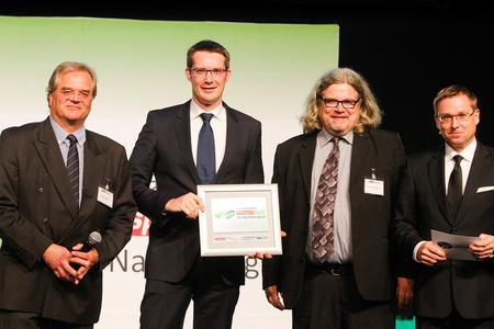 Von links: Robert Domina (Transport-Tester und Motorjournalist), Marcel Frings (Chief Representative TimoCom), Torsten Buchholz (Chefredakteur HUSS-VERLAG), Bert Brandenburg (Verlagsleiter HUSS-VERLAG)