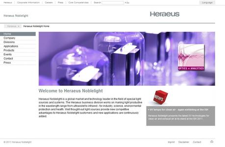 The redesigned Heraeus Noblelight Internet portal is in seven languages