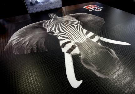 Mit dem EFI VUTEk GS3250LX Pro produzierte SuperWide Digital diese spektakuläre Bodengrafik auf G-Floor Clear Coin, einer Bodenfolie von Soyang