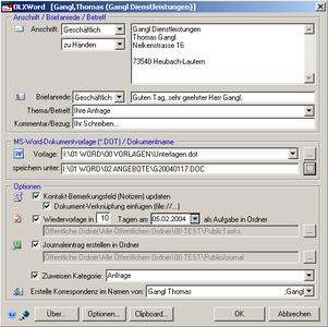 Komfortables Korrespondenz-Management mit Outlook©/Word©