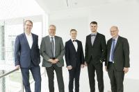 Copyright: Stefanie Kösling/VerkehrsRundschau, von links nach rechts: Prof. Dr. Wojanowski, Prof. Dr. Fuhrmann, Stahler, Bernhardt, Prof. Dr. Noche
