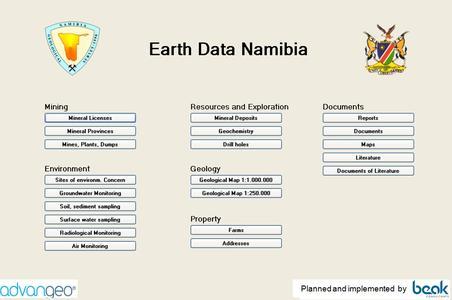 Earth Data Namibia Start Screen