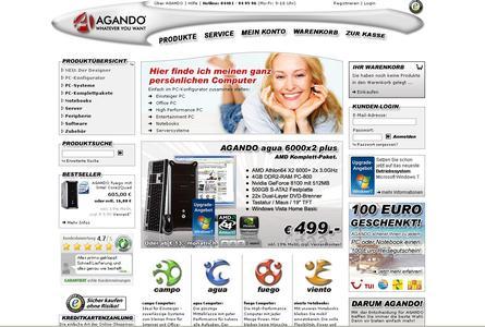Screenshot AGANDO Online-Shop