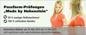 Am 29. Mai 2014 informiert ein kostenloses Webinar der Hohenstein Institute über die Vorteile fundierter und systematischer Passform-Prüfung. © Hohenstein Institute