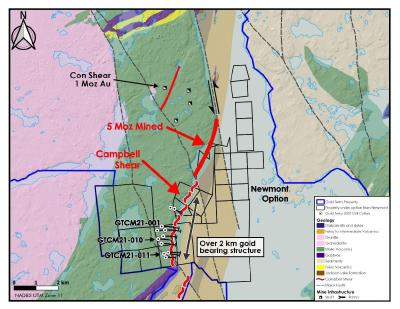 Gold Terra intersects 5.99 g/t Au over 1.45 metres in the Campbell Shear confirming 200 m down dip continuity of Kam Point North zone, Newmont Option, NWT