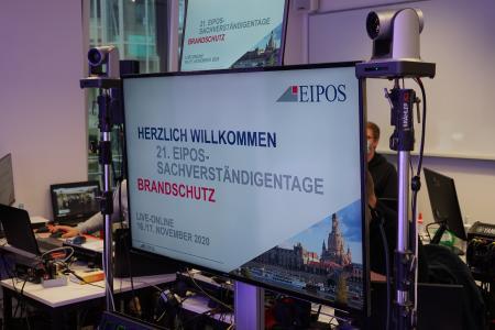 Begrüßungsbildschirm EIPOS-Sachverständigentage Brandschutz als Online-Event