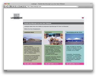 Auf der Landingpage werden die drei Unternehmensbereiche bzw. Produktgruppen kurz vorgestellt, um dem User die schnelle gezielte Suche zu erleichtern.