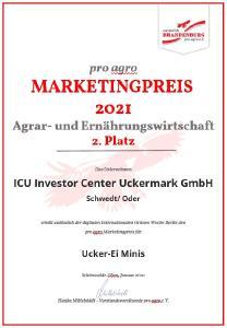 Pro Agro Marketingpreis Urkunde