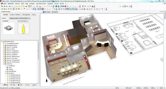 Planung in DIALux auf Basis einer DWG Datei (Quelle: DIAL)