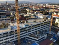 Bauarbeiten am neuen Biologiezentrum der Universität Wien. Ende Oktober 2019 wurde das Richtfest gefeiert. Bild: Hitzler Ingenieure