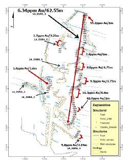 Abbildung 2. Detaillierte Karte der Probenahmestellen and Goldproben